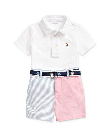 Ralph Lauren - Boys' Cotton Polo Shirt, Color-Blocked Oxford Shorts & D-Ring Jacquard Belt Set - Baby