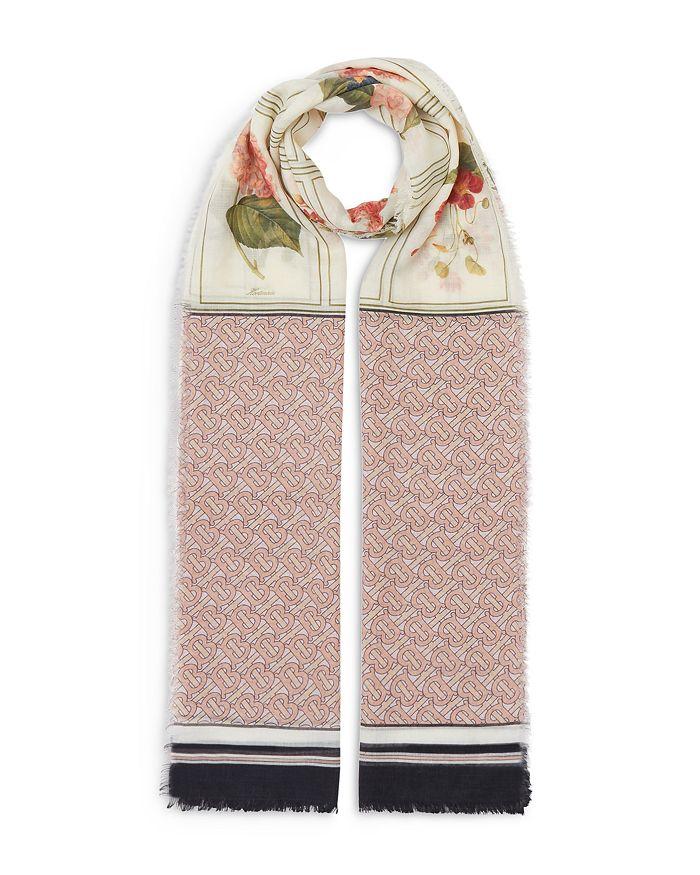 Burberry - Botanical & Monogram Print Silk & Wool Scarf