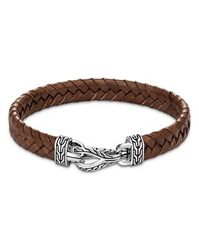 JOHN HARDY - Sterling Silver & Brown Leather Classic Chain Asli Braided Cord Bracelet