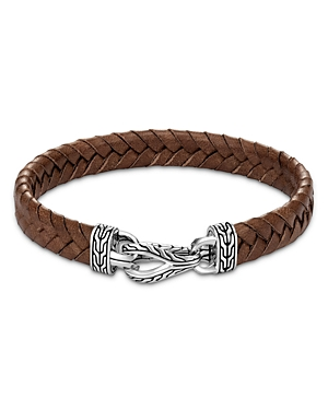 John Hardy Sterling Silver & Brown Leather Classic Chain Asli Braided Cord Bracelet