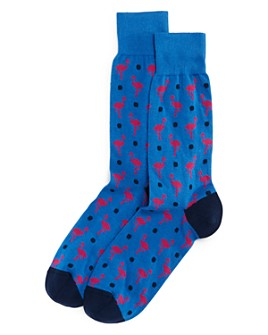 The Men's Store at Bloomingdale's - Cotton-Blend Flamingo Dot Crew Socks - 100% Exclusive