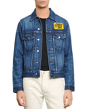 """Sandro - """"Have a Nice Day"""" Embroidered Denim Jacket"""