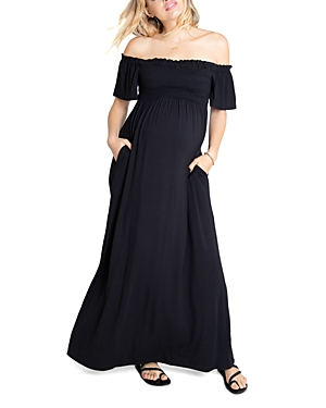 Off-the-Shoulder Maxi Maternity Dress