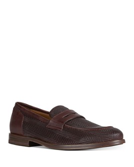 Geox - Men's Bayle Moc Toe Woven Leather Penny Loafers