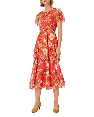 Hobbs London Sarah Floral Print Sash-Waist Midi Dress