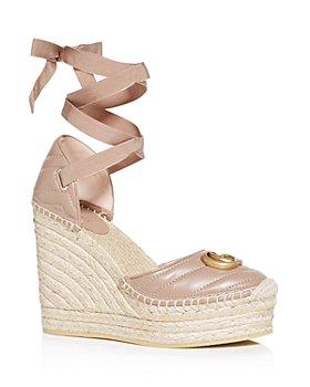 Gucci - Ankle Tie Wedge Platform Espadrille Sandals