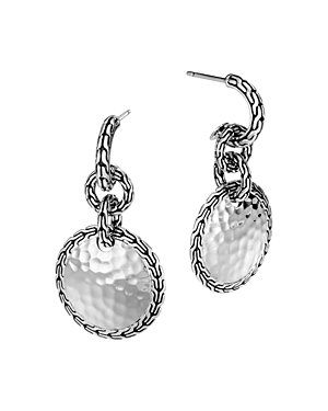 John Hardy Sterling Silver Hammered Disc Drop Earrings