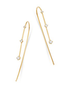 Zoë Chicco - 14K Yellow Gold Prong Diamonds Diamond Threader Earrings