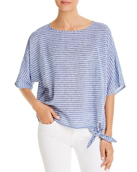 BeachLunchLounge - Striped Tie-Hem Top