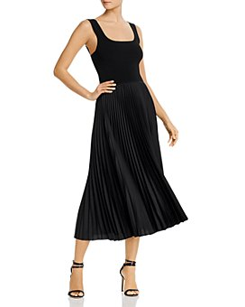 Theory - Pleated Square-Neck Ribbed Midi Dress