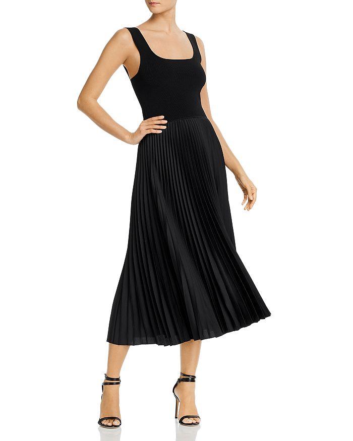 Theory - Pleated Square-Neck Ribbed Midi Dress