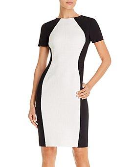 PAULE KA - Colorblocked Mixed-Media Sheath Dress