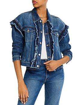 AQUA - Cotton Ruffled Denim Jacket - 100% Exclusive