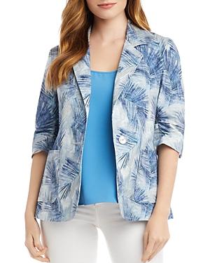Karen Kane Palm Print Ruched-Sleeve Jacket