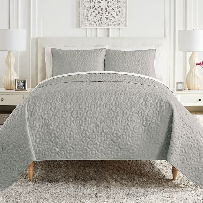 Waterford Mosaic Coverlet Set, Full/queen In Silver