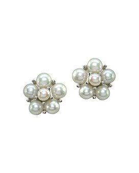 AQUA - Cultured Freshwater Pearl Cluster Button Earrings - 100% Exclusive