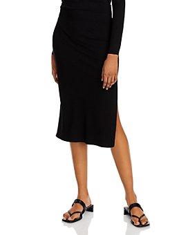 AQUA - Side-Slit Midi Skirt - 100% Exclusive