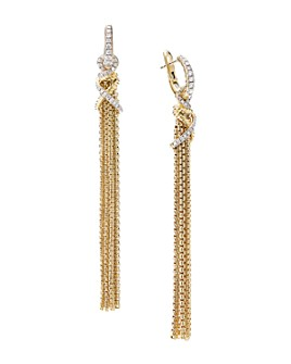David Yurman - Helena Tassel Earrings in 18K Yellow Gold with Diamonds