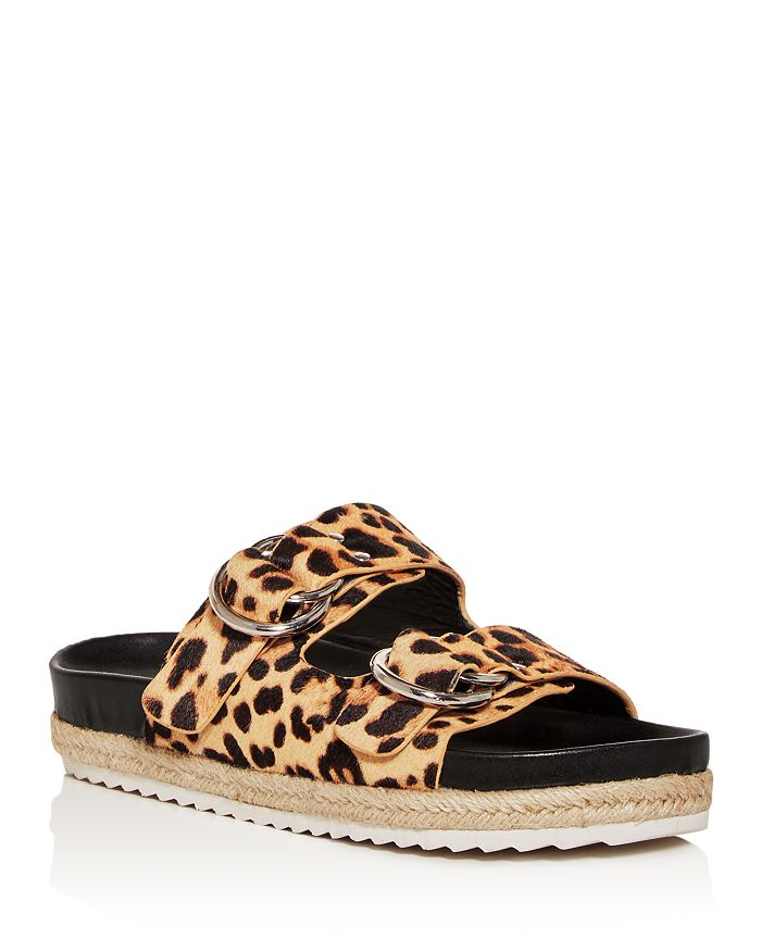 AQUA - Women's Kail Leopard-Print Calf Hair Slide Sandals