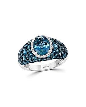 Bloomingdale's - Blue Topaz & Diamond Ring in 14K White Gold - 100% Exclusive