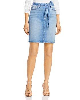 Jen 7 - Tie-Waist Denim Pencil Skirt in Laquinta