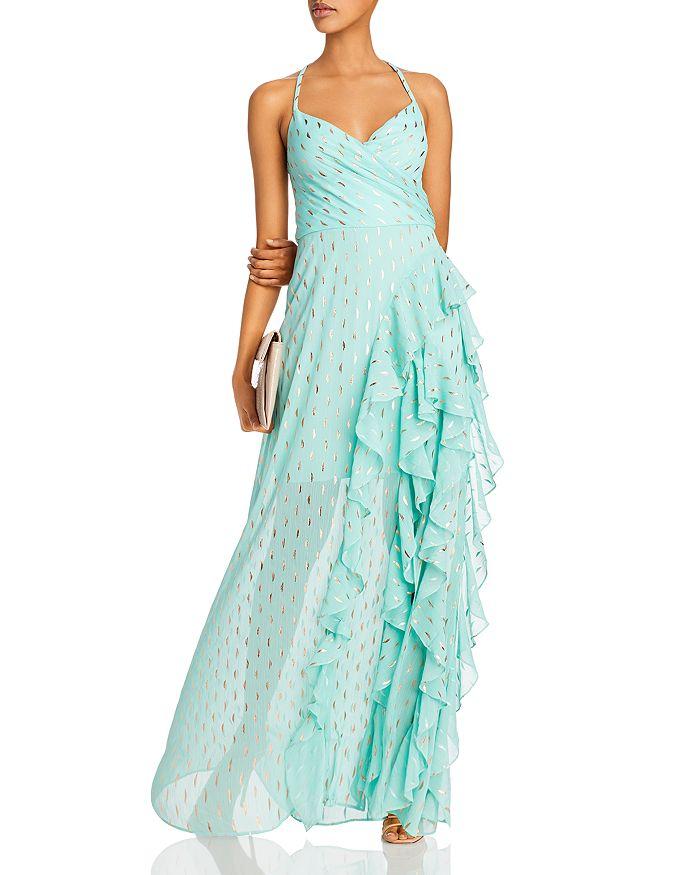 AQUA - Metallic-Print Ruffled Gown - 100% Exclusive