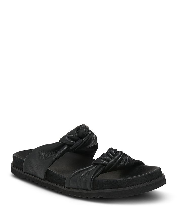Whistles Women's Amira Soft Knotted Slide Sandals In Black