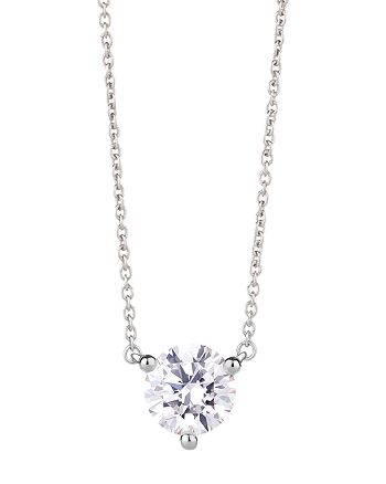 """Lightbox Jewelry - Lab-Grown Round Diamond Solitaire Pendant Necklace in 10K White Gold, 1 ct. t.w., 16""""-18"""""""