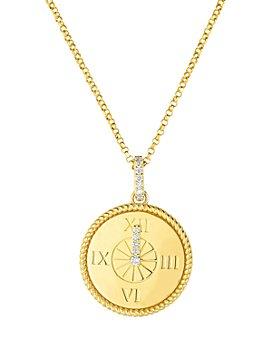 Roberto Coin - 18K Gold Disney Cinderella Diamond Clock Pendant Necklace