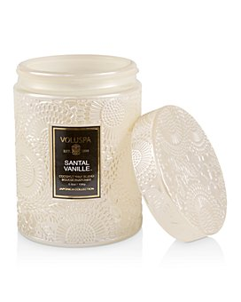Voluspa - Santal Vanille Mini Tall Embossed Glass Jar Candle with Lid