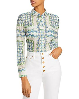 Tory Burch - Printed Cotton & Silk Blouse