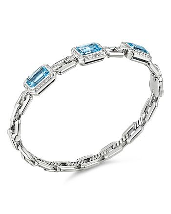 David Yurman - Novella Three-Stone Bracelet with Blue Topaz and Pavé Diamonds