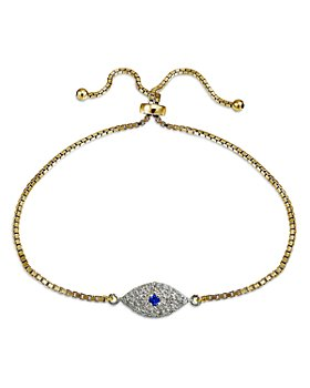 Bloomingdale's - Diamond Evil Eye Adjustable Bracelet in 18K Gold-Plated Sterling Silver, 0.47 ct. t.w. - 100% Exclusive