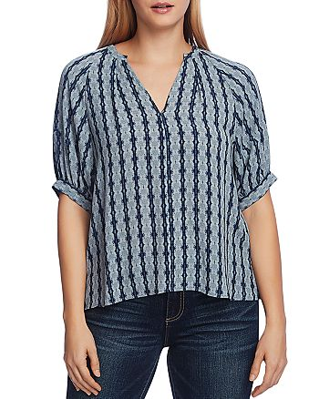 VINCE CAMUTO - Printed Elbow-Sleeve Blouse