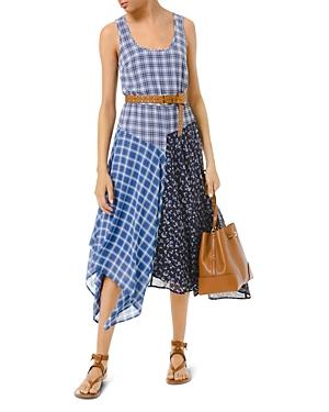 Michael Michael Kors Mixed Plaid Sleeveless Maxi Dress-Women