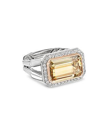 David Yurman - Novella Statement Ring with Champagne Citrine, Diamonds & 18K Rose Gold
