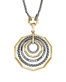 David Yurman - Stax Black and Gold Medium Pendant Necklace with Diamonds, 18""