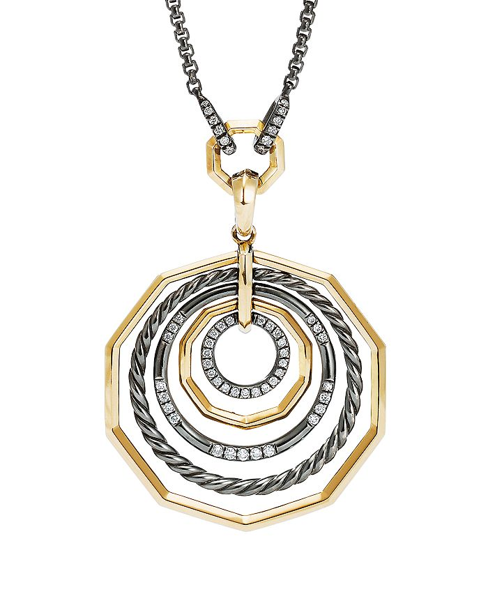 "David Yurman - Stax Black and Gold Medium Pendant Necklace with Diamonds, 18"""