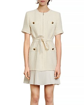 Sandro - Joana Belted Pleated-Hem Dress