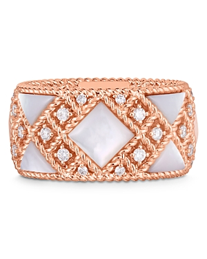 Roberto Coin 18K Rose Gold Palazzo Ducale Mother-of-Pearl & Diamond Ring-Jewelry & Accessories