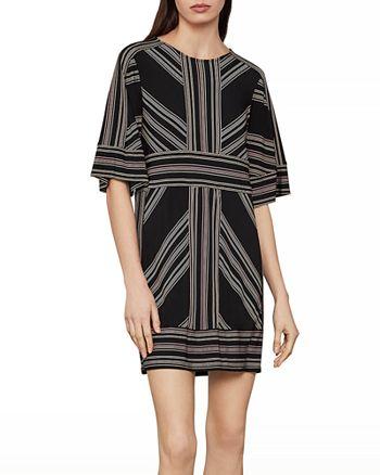 BCBGMAXAZRIA - Geometric Striped Shift Dress