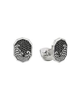 David Yurman - Waves Shield Cufflinks with Pavé Black Diamonds