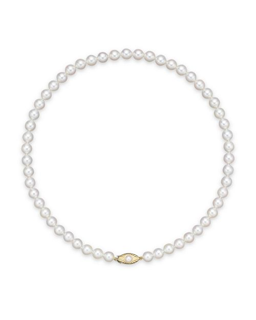 "Bloomingdale's - Cultured Akoya 7mm Pearl Strand Necklace in 14K Yellow Gold, 16"" - 100% Exclusive"