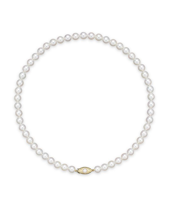 """Bloomingdale's - Cultured Akoya 7.5mm Pearl Strand Necklace in 14K Yellow Gold, 18""""- 100% Exclusive"""