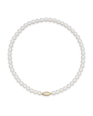 Cultured Akoya 7.5mm Pearl Strand Necklace in 14K Yellow Gold, 18