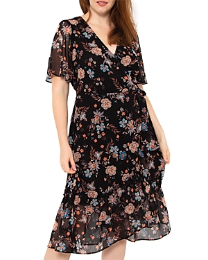 Estelle Plus Terrace Floral Print Midi Wrap Dress
