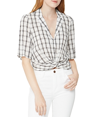 BCBGeneration Plaid Twist-Front Top-Women