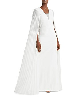 Ralph Lauren - Jaydin Pleated Cape Crepe Gown