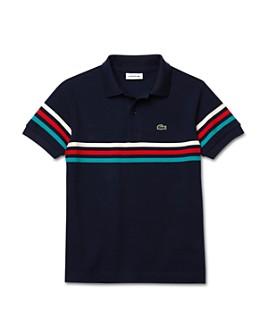 Lacoste - Boys' Short-Sleeved Stripe-Detail Polo Shirt - Little Kid, Big Kid