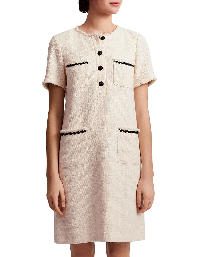 Gerard Darel Severina Tweed Cotton Dress In Ecru